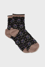 Load image into Gallery viewer, Beige and blue cherry textured socks1sx