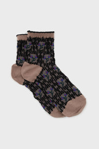 Beige and blue cherry textured socks1sx