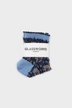 Load image into Gallery viewer, Blue and yellow cherry textured socks. 1