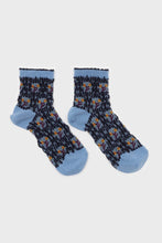 Load image into Gallery viewer, Blue and yellow cherry textured socks 2