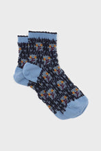 Load image into Gallery viewer, Blue and yellow cherry textured socks sx