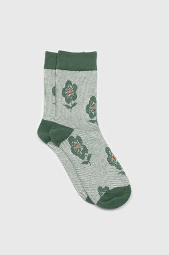 Green jacquard flower socks1sx