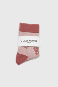 Pink jacquard flower socks2