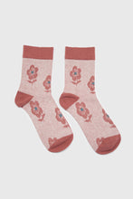 Load image into Gallery viewer, Pink jacquard flower socks3