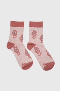 Pink jacquard flower socks3
