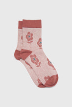 Load image into Gallery viewer, Pink jacquard flower socks1sx