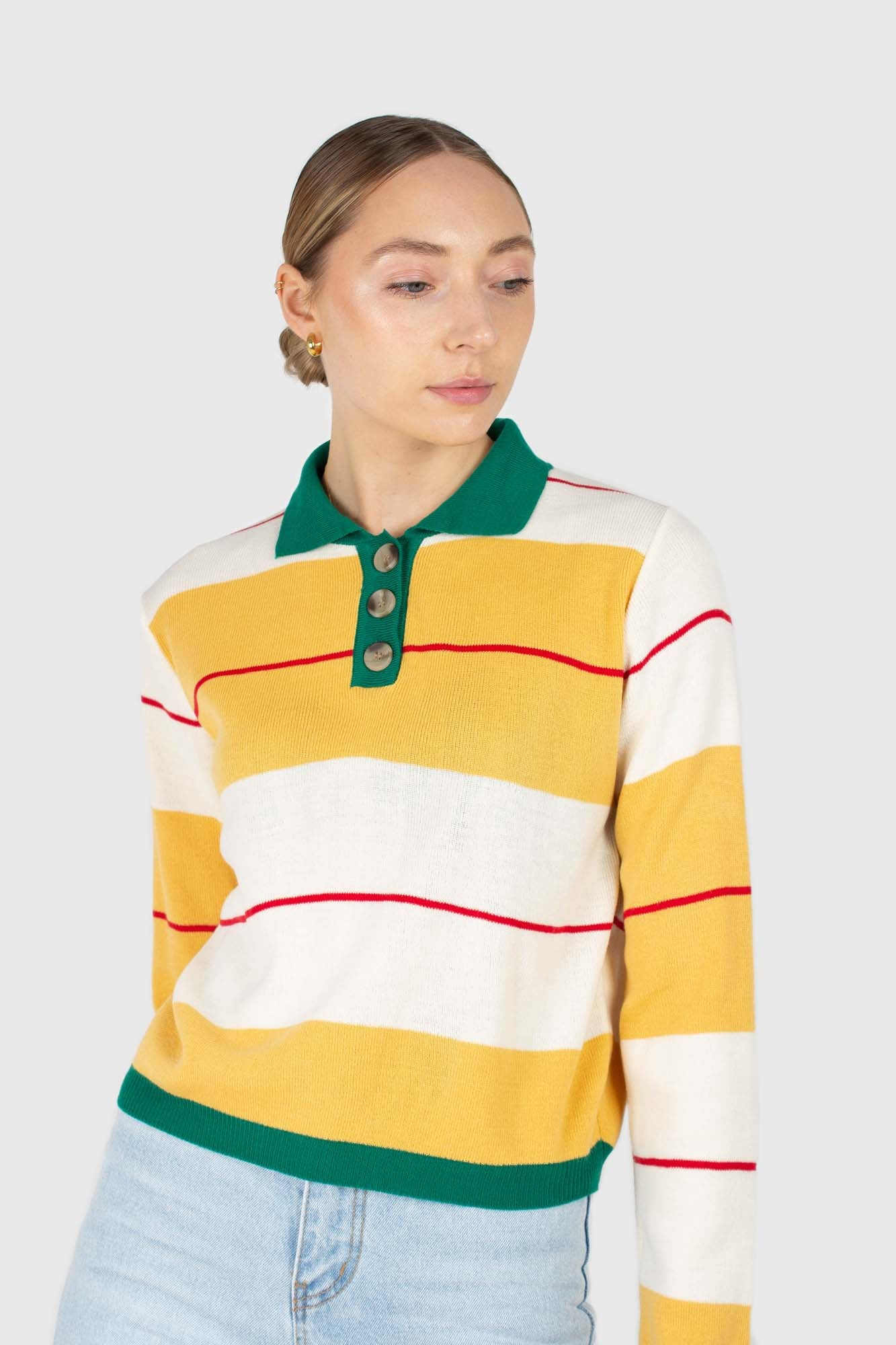 Green and yellow thick multistriped polo knit top1
