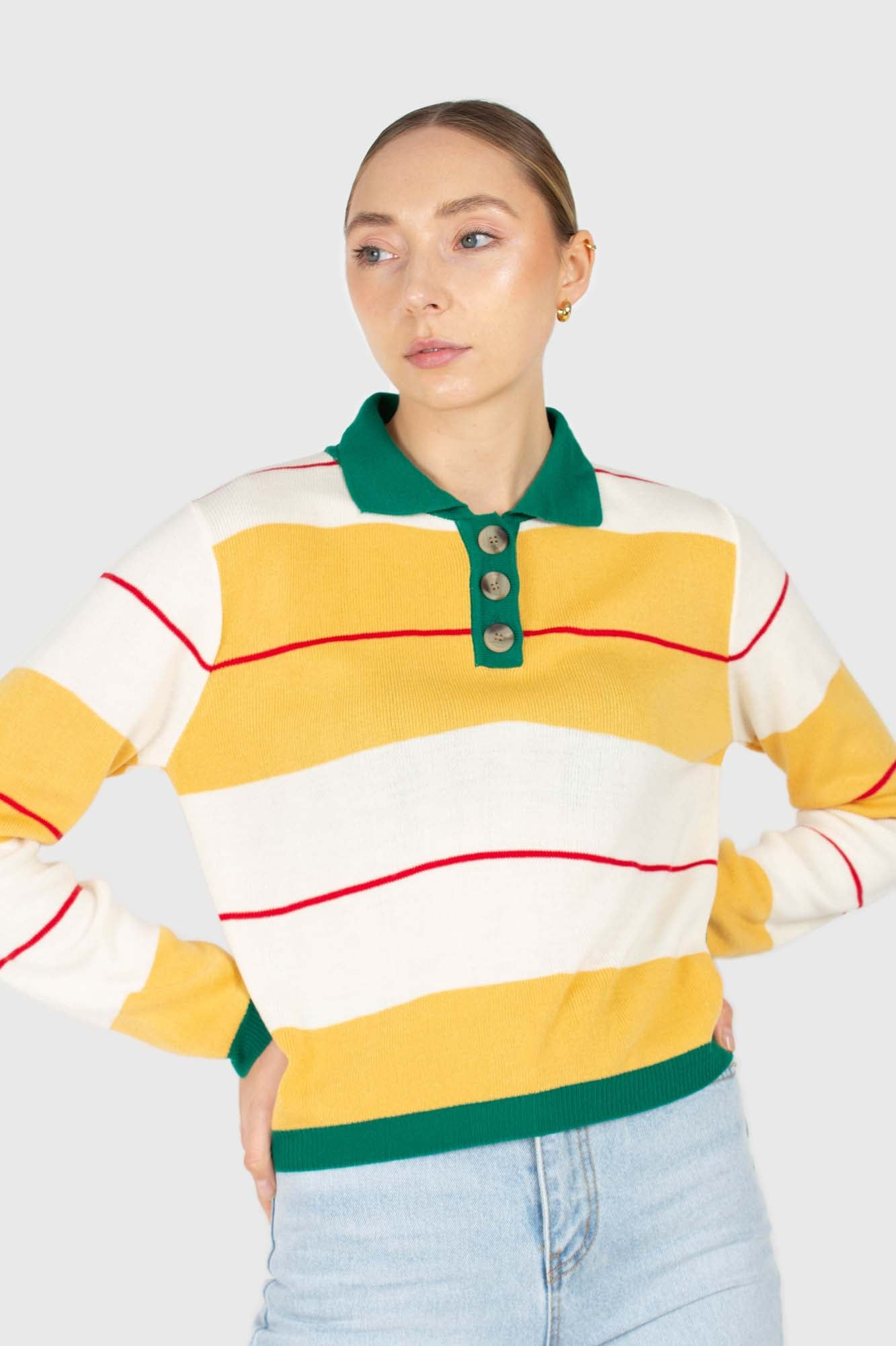 Green and yellow thick multistriped polo knit top2