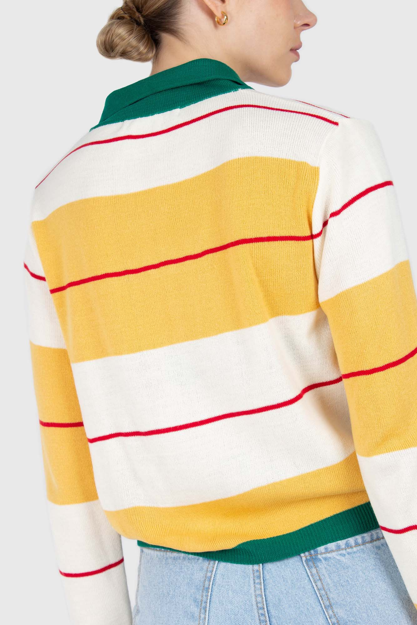 Green and yellow thick multistriped polo knit top3