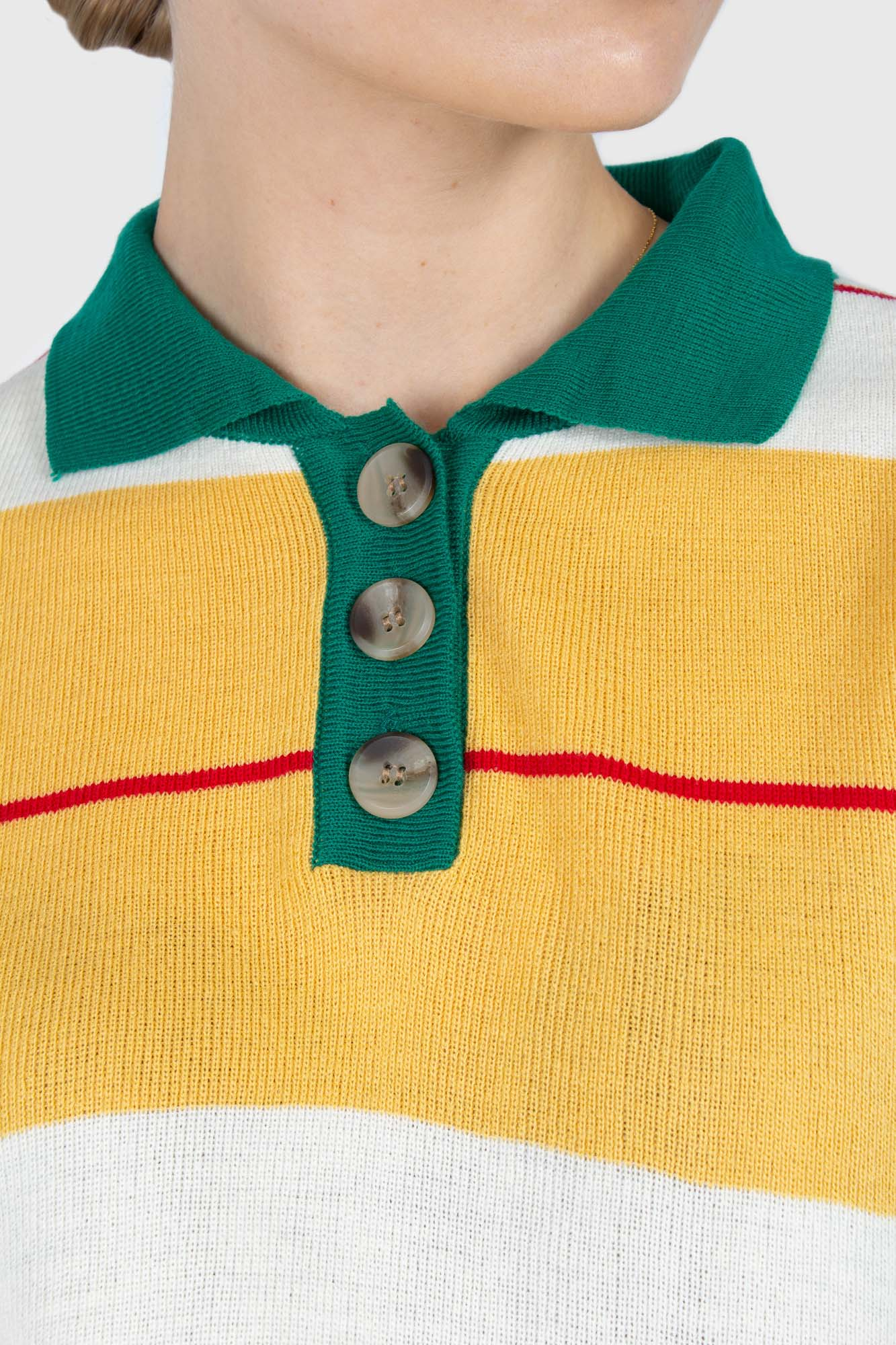 Green and yellow thick multistriped polo knit top4