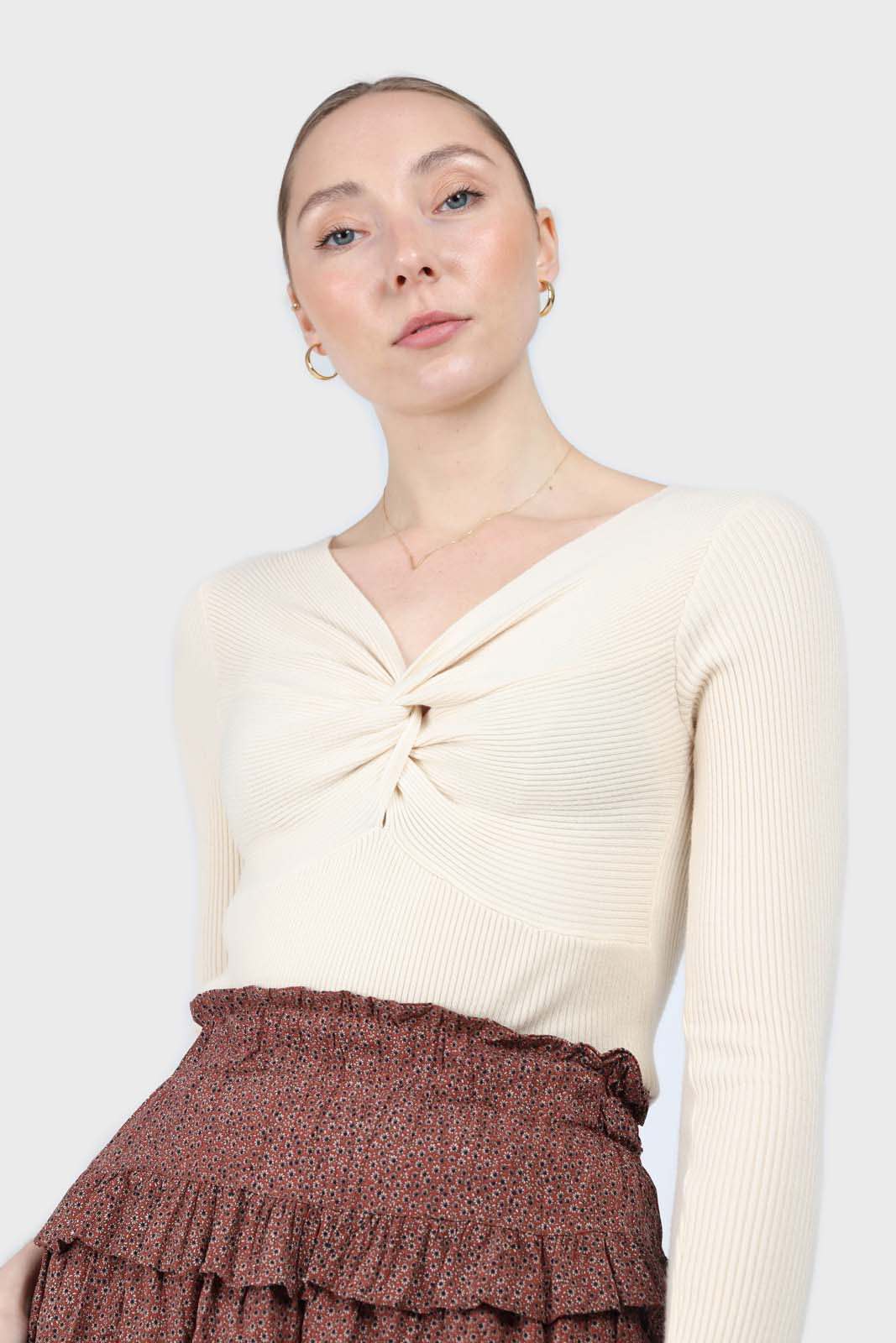 Beige cross front chest knit top5