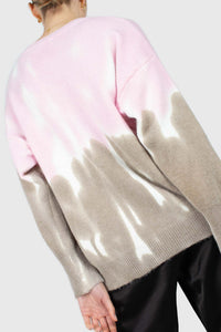 Pink and grey tie dye colorblock jumper2