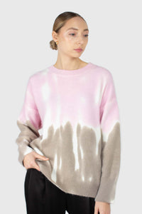 Pink and grey tie dye colorblock jumper3
