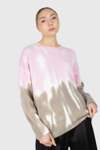 Pink and grey tie dye colorblock jumper4