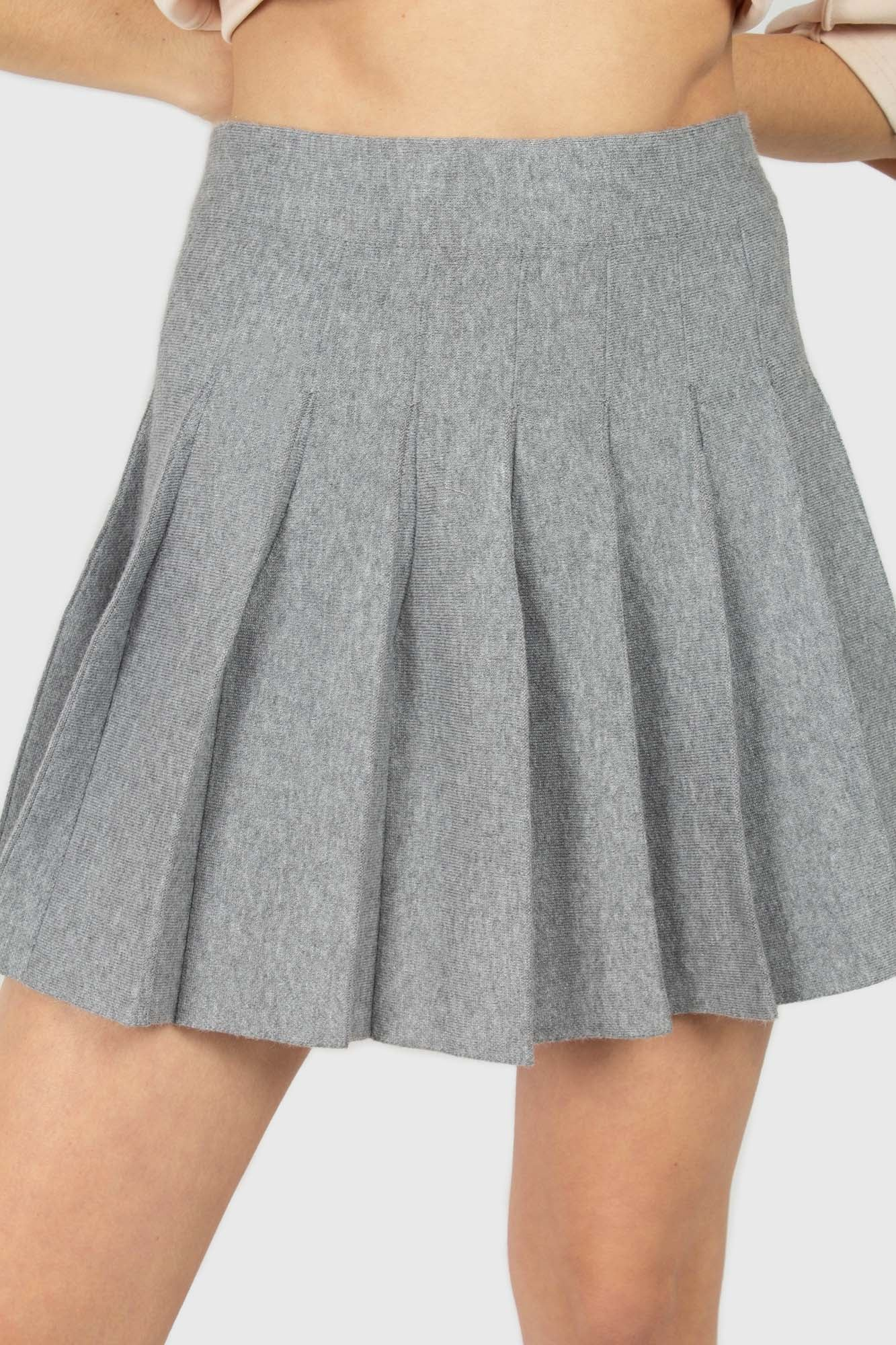Grey pleated knit mini skirt2