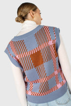 Load image into Gallery viewer, Light blue and camel plaid knit vest3