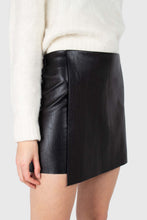 Load image into Gallery viewer, Black vegan leather cross front mini skirt1