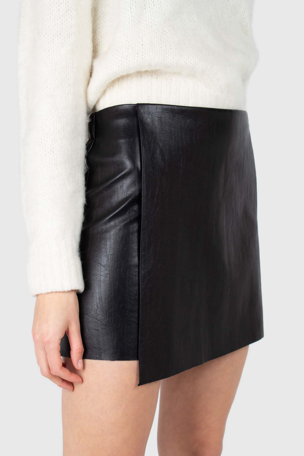 Black vegan leather cross front mini skirt1
