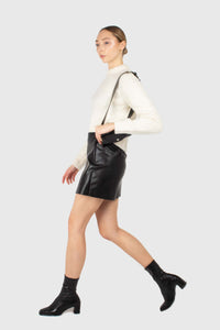 Black vegan leather cross front mini skirt3
