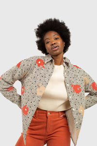Ivory and red floral print corduroy shirt4
