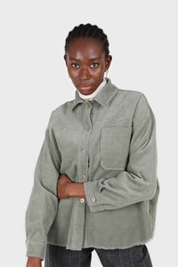 Khaki corduroy patch pocket oversized shirt jacket2
