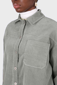 Khaki corduroy patch pocket oversized shirt jacket4