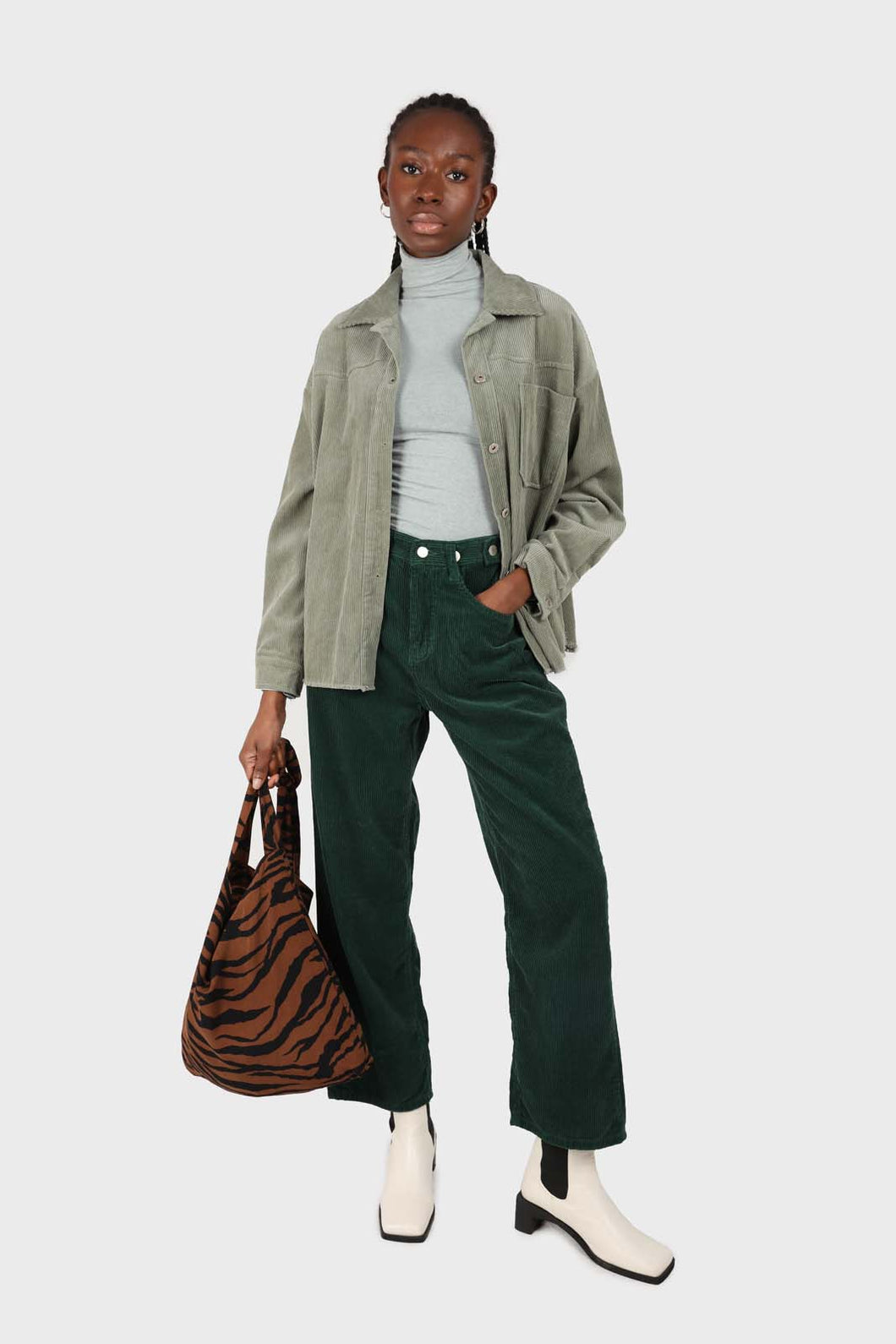 Khaki corduroy patch pocket oversized shirt jacket