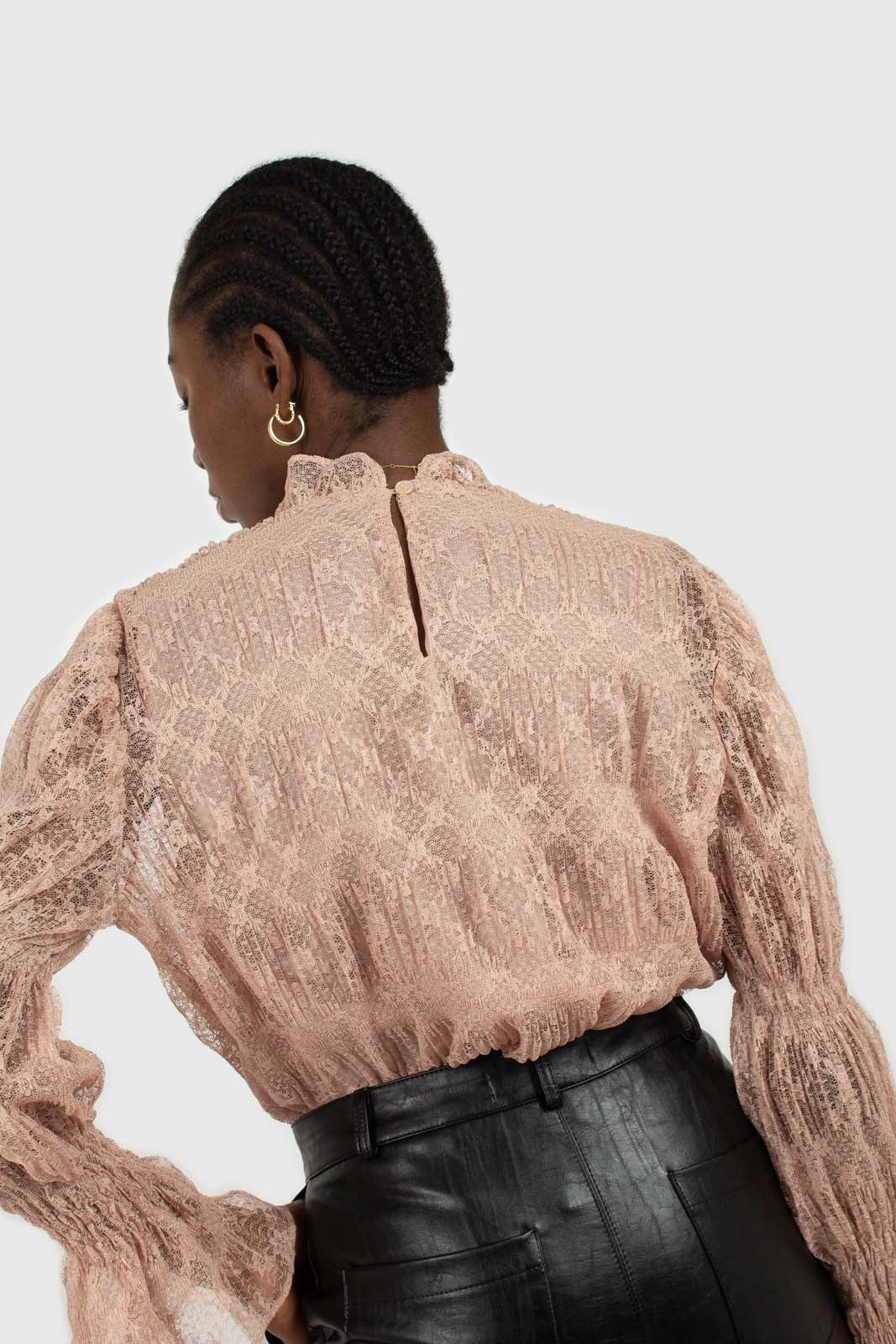 Baby pink sheer lace mock neck blouse7