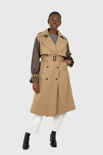 Beige and brown checked sleeve trench coat1