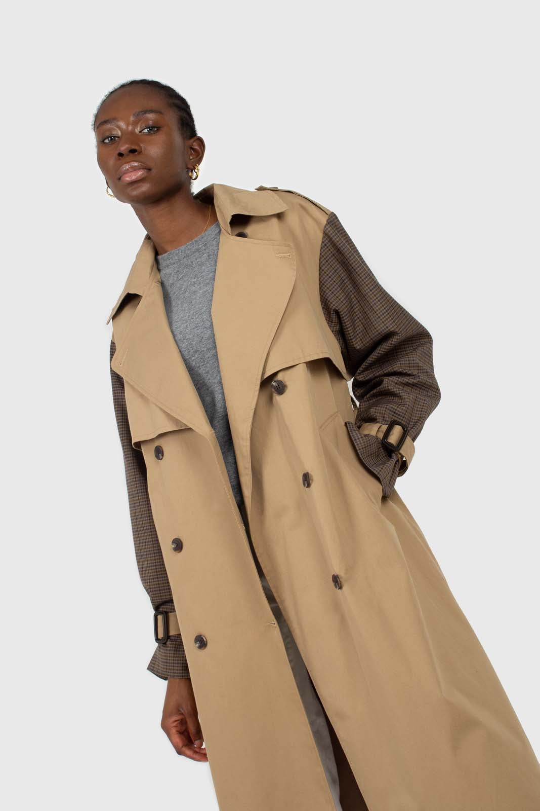 Beige and brown checked sleeve trench coat2