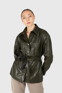 Khaki high shine glossy belted shirt1