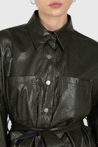 Khaki high shine glossy belted shirt2
