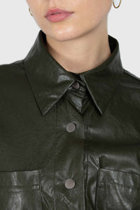 Khaki high shine glossy belted shirt3