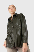 Load image into Gallery viewer, Khaki high shine glossy belted shirt4