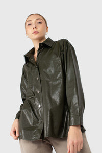 Khaki high shine glossy belted shirt4