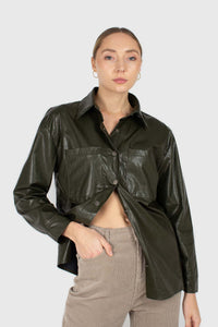 Khaki high shine glossy belted shirt5