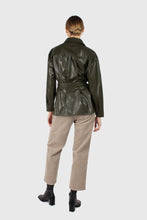Load image into Gallery viewer, Khaki high shine glossy belted shirt7