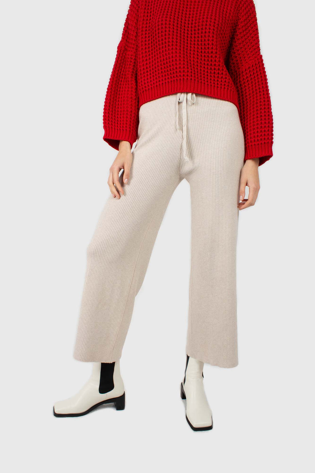 Ivory ribbed loose fit knit trousers1