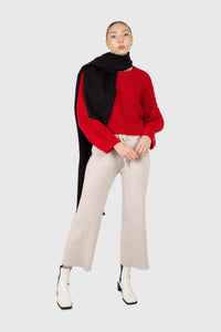 Ivory ribbed loose fit knit trousers2