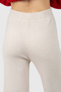 Ivory ribbed loose fit knit trousers4