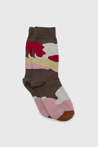 Khaki and red camo print sock1