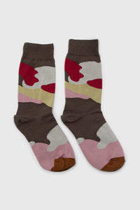 Khaki and red camo print sock3
