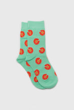 Load image into Gallery viewer, Mint and orange daisy print socks1