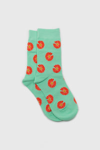 Mint and orange daisy print socks1