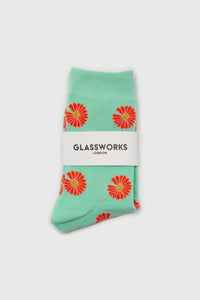 Mint and orange daisy print socks2