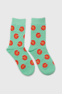 Mint and orange daisy print socks3