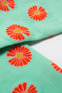 Mint and orange daisy print socks4