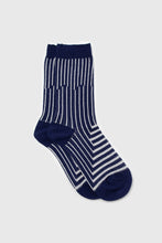 Load image into Gallery viewer, Navy and white geometric socks1
