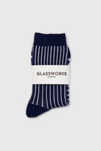 Load image into Gallery viewer, Navy and white geometric socks2