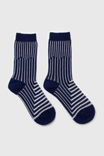 Load image into Gallery viewer, Navy and white geometric socks3